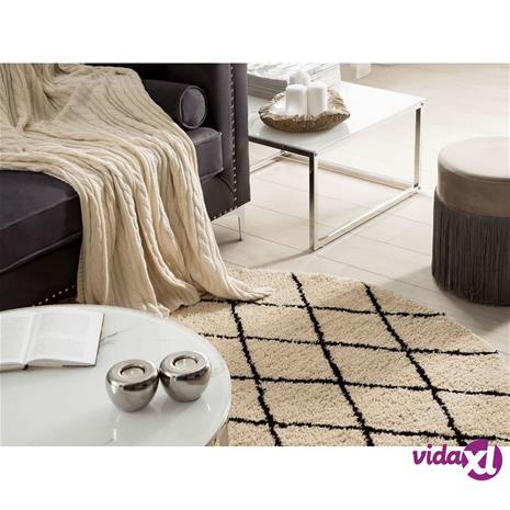 Beliani Pyöreä musta beige matto 140cm MIDYAT
