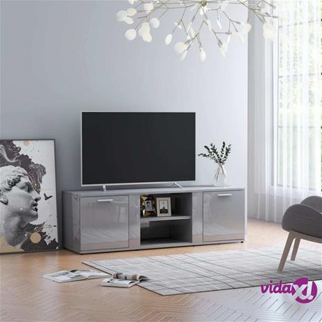 vidaXL TV-taso korkeakiilto harmaa 120x34x37 cm lastulevy