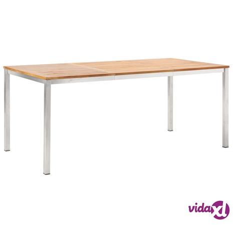 vidaXL Ulkoruokapöytä 180x90x75 cm akaasiapuu ja ruostumaton teräs