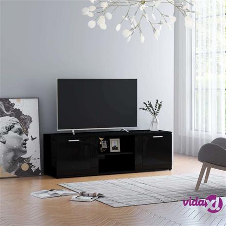 vidaXL TV-taso korkeakiilto musta 120x34x37 cm lastulevy