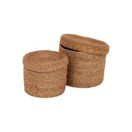 Dixie Dixie-Jute Basket With Lid 2-pack, Natural