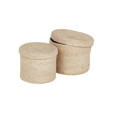 Dixie Dixie-Jute Basket With Lid 2-pack, White