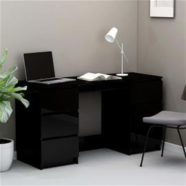 vidaXL Kirjoituspöytä korkeakiilto musta 140x50x77 cm lastulevy