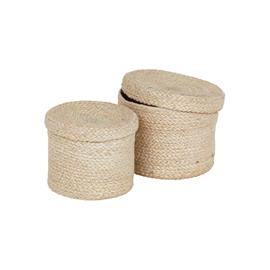 Dixie Jute Basket With Lid 2-pack, White