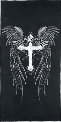 Rock Rebel by EMP - Cross With Wings - Kylpypyyhe - Unisex - Musta valkoinen