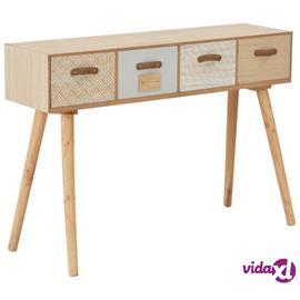 vidaXL Konsolipöytä 4 laatikolla 110x30x75 cm täysi mänty