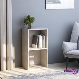 vidaXL 2-tasoinen kirjahylly betoninharmaa 40x30x76,5 cm lastulevy