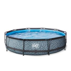 EXIT Stone Pool ø 360 x 76 cm suodatinpumpulla - harmaa