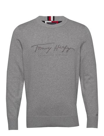 Tommy Hilfiger Tonal Autograph Sweater Svetari Collegepaita Harmaa Tommy Hilfiger MEDIUM GREY HEATHER