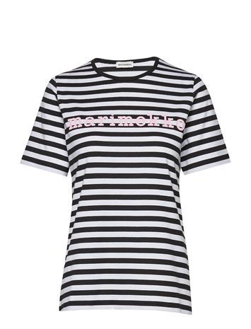Marimekko Logo Lyhythiha Mari T-Shirt T-shirts & Tops Short-sleeved Musta Marimekko BLACK, WHITE, LIGHT PINK