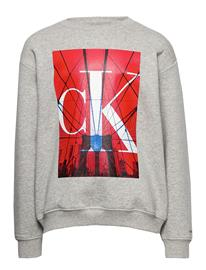 Calvin Klein Monogram City Print Sweatshirt Svetari Collegepaita Harmaa Calvin Klein LIGHT GREY HEATHER
