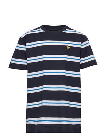 Lyle & Scott Junior Wide Double Stripe T-Shirt Navy Blazer T-shirts Short-sleeved Sininen Lyle & Scott Junior NAVY BLAZER