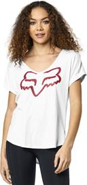 Fox Responded V-Neck Rolled Sleeve SS Shirt Women, white/light pink