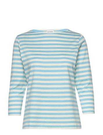 Marimekko Ilma Shirt T-shirts & Tops Long-sleeved Valkoinen Marimekko TURQUOISE, WHITE