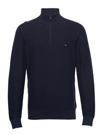 Tommy Hilfiger Bold Textured Cotton Zip Mock Knitwear Half Zip Jumpers Sininen Tommy Hilfiger DESERT SKY