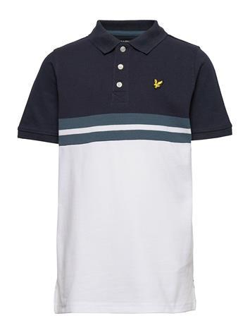 Lyle & Scott Junior Yoke Stripe Polo Bright White T-shirts Polo Shirts Sininen Lyle & Scott Junior BRIGHT WHITE