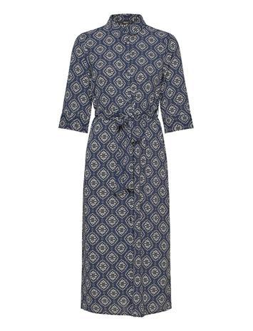 ONLY Onlnova Lux 3/4 Shirt Dress Aop Wvn Polvipituinen Mekko Sininen ONLY NIGHT SKY