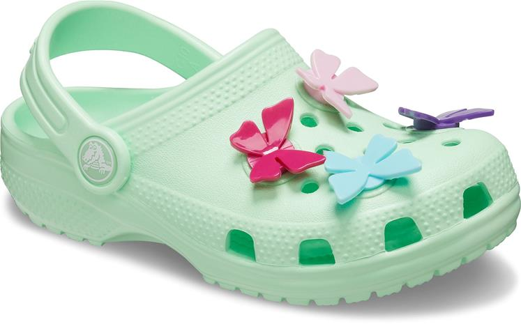 Crocs Classic Butterfly Charm Clog, Neo Mint, 30-31