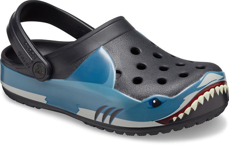 Crocs Fun Lab Shark Clog, Black, 22-23