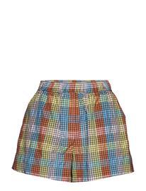 Ganni Seersucker Check Shorts Flowy Shorts/Casual Shorts Monivärinen/Kuvioitu Ganni MULTICOLOUR