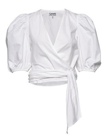 Ganni Wrap Blouse Blouses Short-sleeved Valkoinen Ganni BRIGHT WHITE