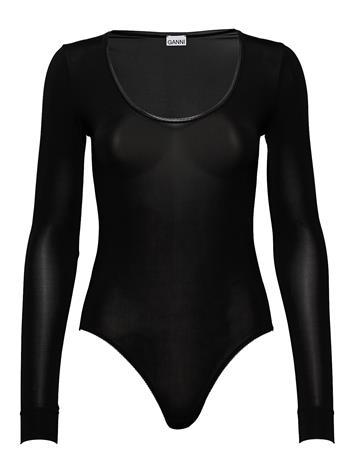 Ganni Ls Bodystocking Body Alusmekko Musta Ganni BLACK