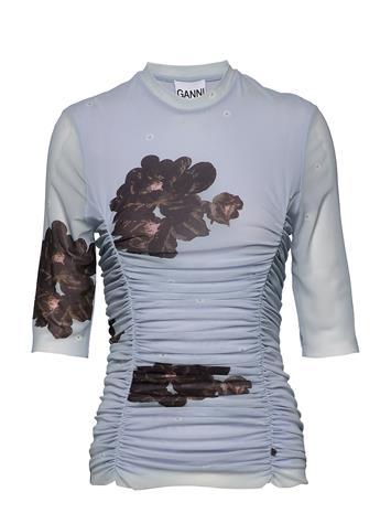 Ganni Printed Mesh Blouses Short-sleeved Sininen Ganni HEATHER