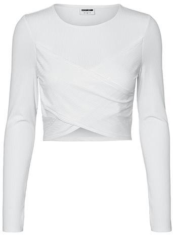 Noisy May - Poppy Cropped Top - Pitkähihainen paita - Naiset - Valkoinen