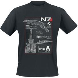 Mass Effect - N7 - Normandy Blueprint - T-paita - Miehet - Musta