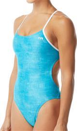 TYR Sandblasted Cutoutfit Swimsuit Women, turquoise/white