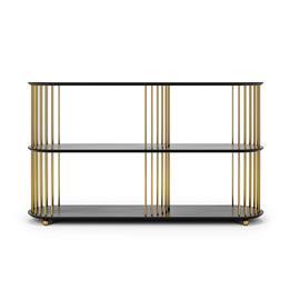 Decotique Decotique-Cage 140 High 3 Shelf, Black Oak / Brass