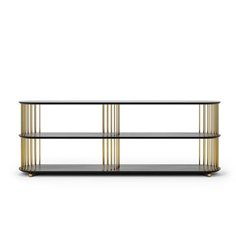Decotique Decotique-Cage 180 3 Shelf, Black Oak/ Brass