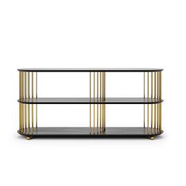 Decotique Decotique-Cage 140 3 Shelf, Black Oak / Brass