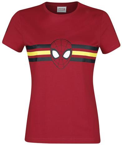 Spider-Man - Logo - Stripes - T-paita - Naiset - Punainen