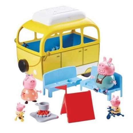Peppa Pig - Matkailuauto, jossa teltta ja 4 merkkiä