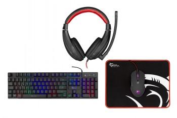 White Shark Comanche 2 Gaming Bundle (näppäimistö, kuulokemikrofoni, hiiri ja hiirimatto)