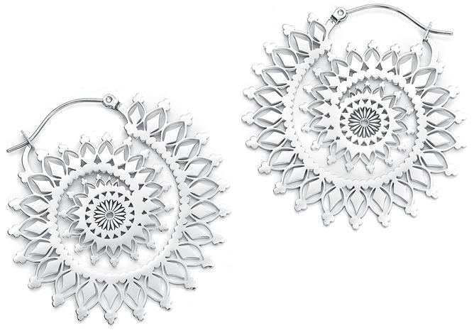 Wildcat - Silver Floral Nautilus Hoops - Korvakoru - Naiset - Hopeanvärinen