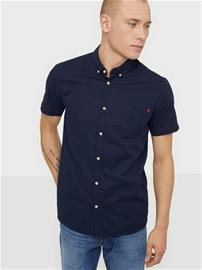 Solid Shirt - Bill SS BD Linen Kauluspaidat Insignia Blue