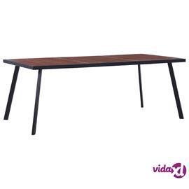 vidaXL Ruokapöytä tumma puu ja musta 200x100x75 cm MDF
