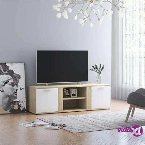 vidaXL TV-taso valkoinen ja Sonoma-tammi 120x34x37 cm lastulevy