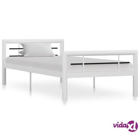 vidaXL Sängynrunko valkoinen ja musta metalli 90x200 cm