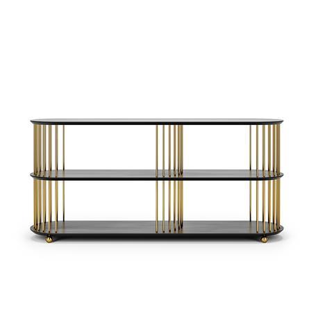 Decotique Cage 140 3 Shelf, Black Oak / Brass