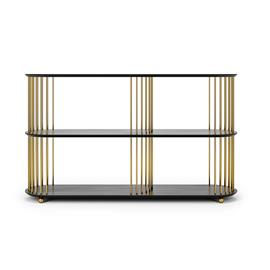 Decotique Cage 140 High 3 Shelf, Black Oak / Brass