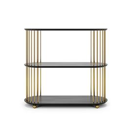 Decotique Cage 90 High 3 Shelf, Black Oak / Brass