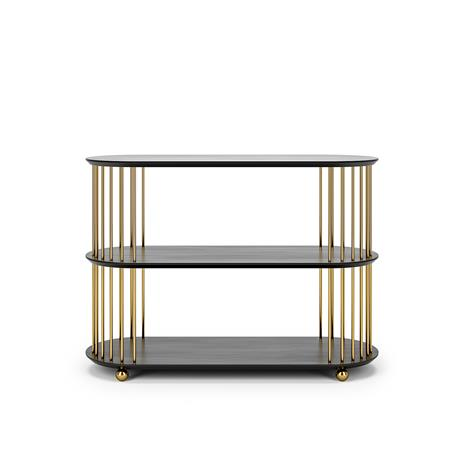 Decotique Cage 90 3 Shelf, Black Oak / Brass