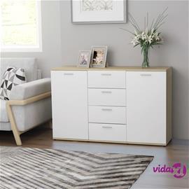 vidaXL Senkki valkoinen ja Sonoma-tammi 120x35,5x75 cm lastulevy