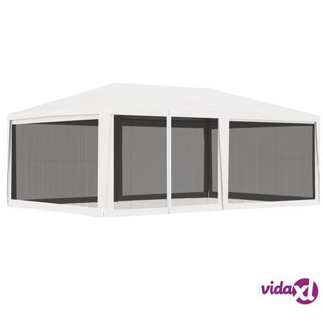 vidaXL Juhlateltta 4 verkkosivuseinää 4x6 m valkoinen