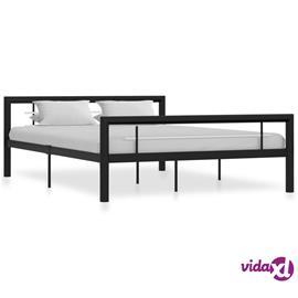 vidaXL Sängynrunko musta ja valkoinen metalli 160x200 cm