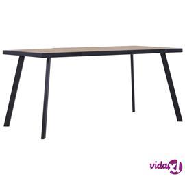 vidaXL Ruokapöytä valea puu ja musta 160x80x75 cm MDF