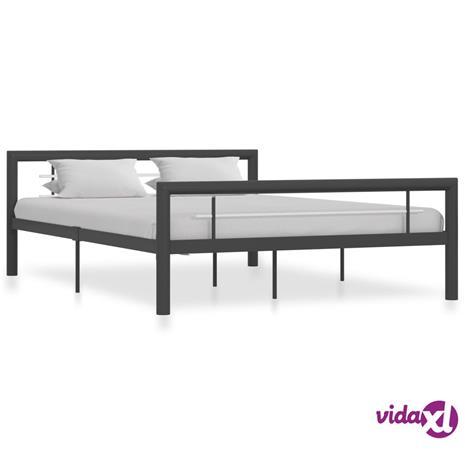 vidaXL Sängynrunko harmaa ja valkoinen metalli 140x200 cm